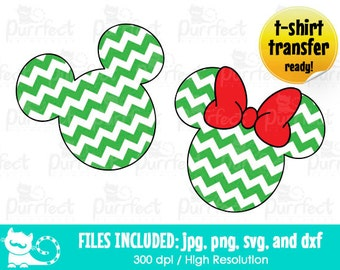 Mickey and Minnie Christmas Green Chevron Design Pattern SVG, Disney Digital Cut Files in svg, dxf, png and jpg, Printable Clipart