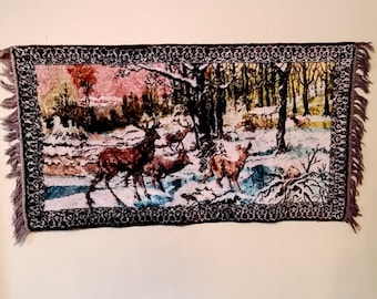 Vintage Mid Century Velvet Tapestry Forest Scene with Deer Stag Family Wall Hanging