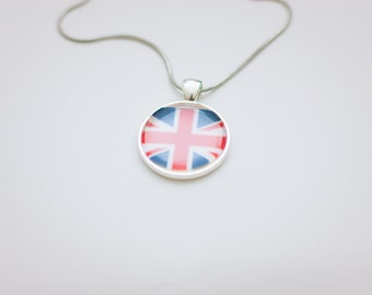 Union Jack flag necklace, Union Jack necklace, Union Jack pendant, Union Jack jewelry, flag necklace, silver necklace, flag jewelry,gift