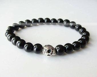 Man - black skull beads silver skull bracelet