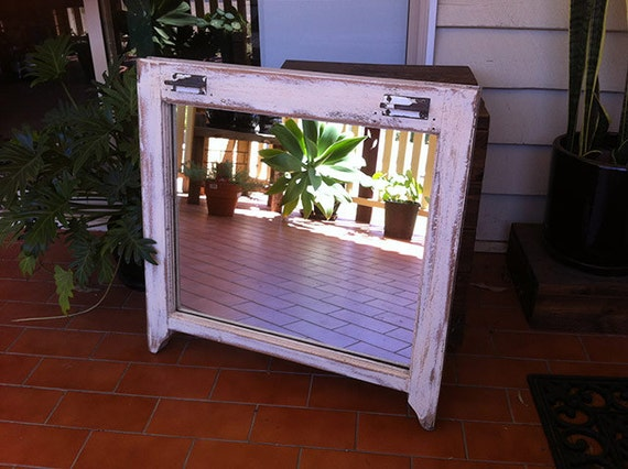 Rustic Patina Sash Window Mirror