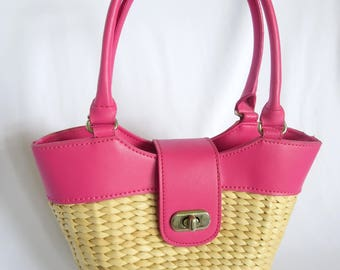 Wicker Bag, Vintage Bag, Bag, Purse, Pink Bag, Wicker, Cute Bag, Summer Bag, Basket