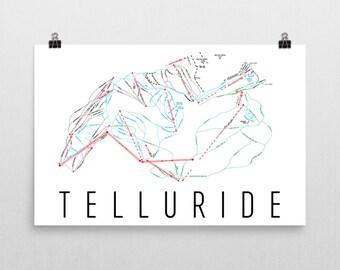Telluride Ski Map Art, Telluride Colorado, Telluride Trail Map, Colorado Art, Colorado Gifts, Colorado Poster, Colorado Print, Ski Art