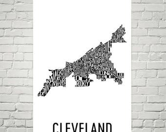 Cleveland Typography Neighborhood Map Art City Print, Cleveland Wall Art, Cleveland Art Poster, Gift, Map of Cleveland, Cleveland Ohio, OH