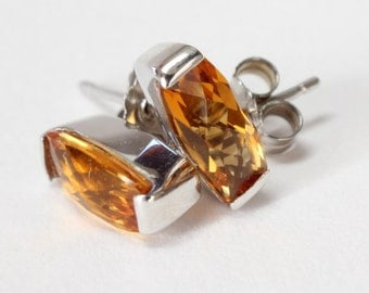 14k White Gold Citrine Earrings Earring November Birthstone Cushion Pillow Cut Stud