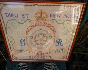 1937 Sampler Handmade May 12th Coronation of G.R. Dieu Et Mon Droit George VI, Royalty, Collectabel Needlework, Framed Sampler