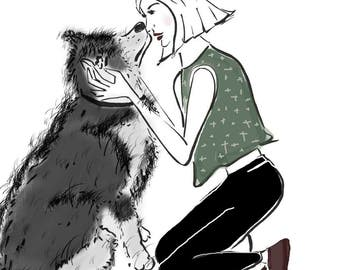Illustrated custom portrait drawing- you and your beloved pet.