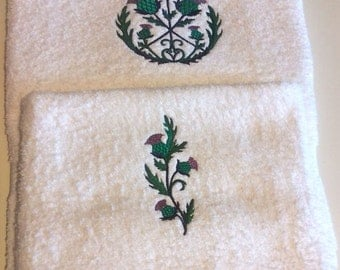 Embroidered Hand and Bath Towels, Scottish Thistle Hand and Bath Towels