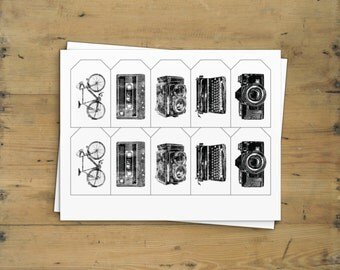 Printable Tag, Baby Boy Shower Gift Tags | Kids Birthday Labels | Vintage Bicycle, Camera, Typewriter and Cassette print, Instant Download