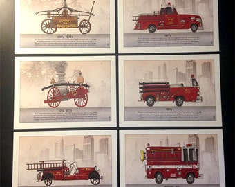 Evolution of the Fire Truck Postcards - Set of 6