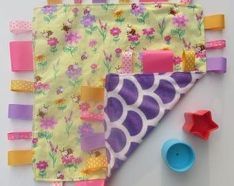 Sensory Tag Blanket baby flannelette and Minky blanket. Taggie Blanket