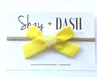 Yellow Velvet Bow - Headband OR clip
