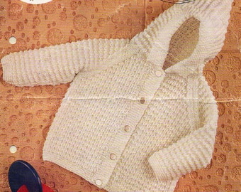 baby hooded jacket knitting pattern pdf DK baby cardigan with hood Vintage 70s 20-22 inch DK light worsted 8ply Instant download