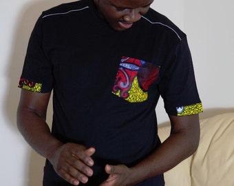 T-shirt with an ankara, African wax cotton print trim