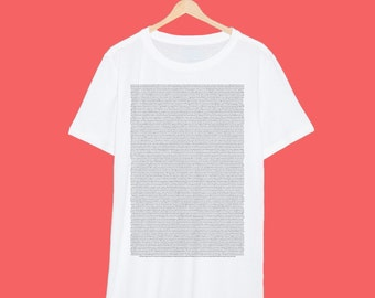 Entire 'Shrek 2' Script Printed Really Small On A White T Shirt