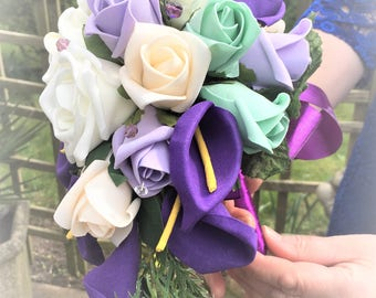 Purple roses and calla lily bouquet, Purple theme bouquet, Purple wedding bouquet, Purple and cream bouquet,Lilac and cream roses