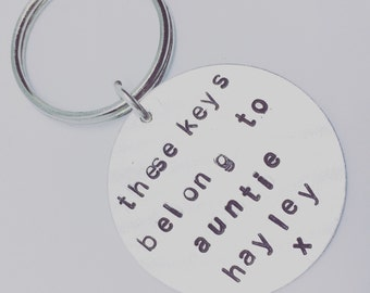 personalised keyring great christmas gift for mums, dads, nans, gramps can be personalised with any message, handstamped keyring