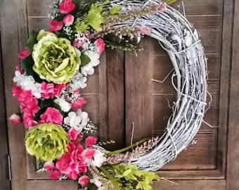Spring wreath, vibrant wreath, summer wreath, easter wreath, unique wreath, wreath, front door wreath, bright wreath, grapevine wreath