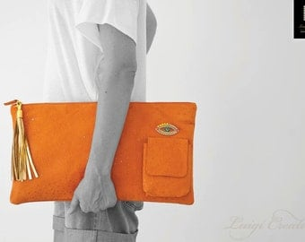 Clutch bag, XL Clutch, Handmade Clutch, Leather Clutch, Orange Handbag, Party bag, Tassel Handbag, EvilEye bag, Colortherapy collection!