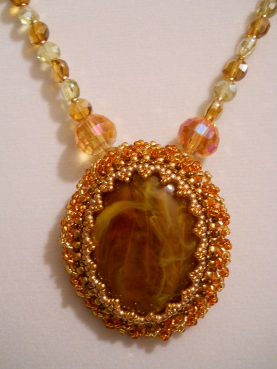 BEZELED MARBLED CABOCHON Necklace w/ Gold Plated Clasp