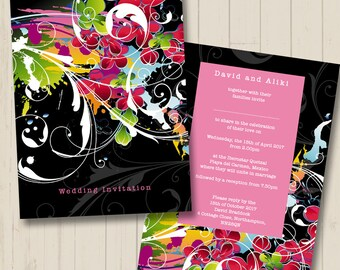 Abstract Invitations, Printable, Digital, DIY, Mid Century, Avante Garde Invite, Wedding Kit