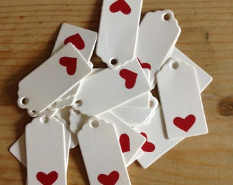 1x Pack of x25 Love Heart Rectangle Present Gift Tags (White with Red Heart)