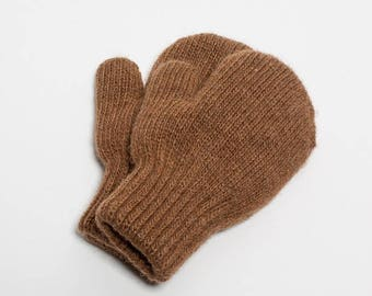 Camel wool mittens for kids - brown