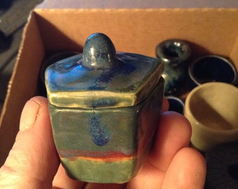 Miniature (M-2-001) one of a kind 5 sided lidded container, glazed ceramic pottery, signed