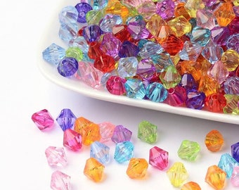 50 pc Mixed Translucent Faceted Bicone Acrylic Beads 8x8mm
