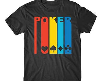 Retro 1970's Style Playing Card Suits Silhouette Poker Shirt