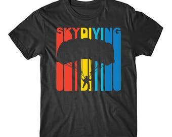 Retro 1970's Style Skydiver Silhouette Skydiving T-Shirt