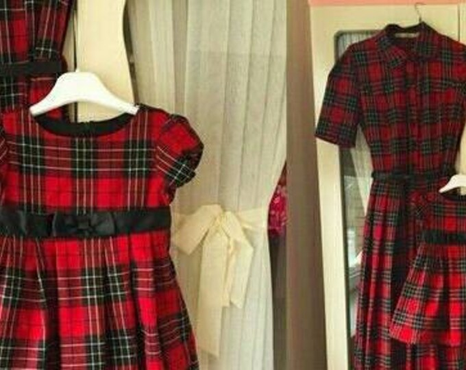 Plaid Mother daughter matching dress, Tartan Mom Daughter matching maxi dress Plaid dress flared long dress Custom made Family clothes