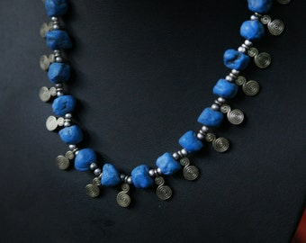 Moroccan Berber vintage necklace with blue stones and silver plated beans - handmade