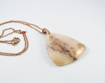 White stone necklace / chalcedony stone pendant / copper colored chain