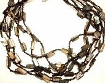 Gorgeous Vintage Black/Grey Pearlescent Multi-Stranded Beaded Necklace