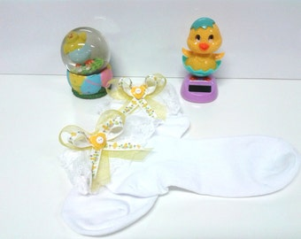 Ladies Easter Lace Trim Anklet Stockings w Ribbon Bows w Bells....Easter Socks,