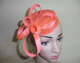 Neon Fluorescent salmon colour pillbox, Bright colour Pillbox Hat,Wedding Pillbox Hat,Ascot Hat,Wedding Hat,Occasion Hat,Fascinator