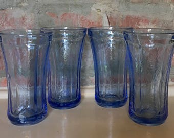 Vintage Indiana Glass Madrid Blue Pressed Glass Tumbler Set // 1970's // Set of 4