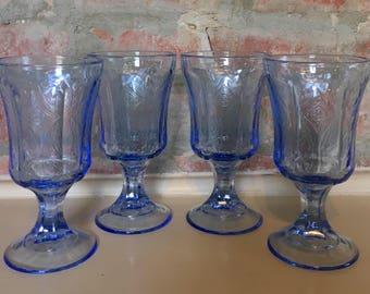 Vintage Indiana Glass Madrid Blue Pressed Glass Goblet Set // 1970's // Set of 4