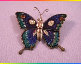 Butterfly Brooch, Gold Tone Body with Blue, Green and Gold Sparkling Wings, Made in Taiwan