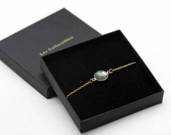 Bracelet labradorite / labradoriteplaque bracelet gold / gold plated bracelet