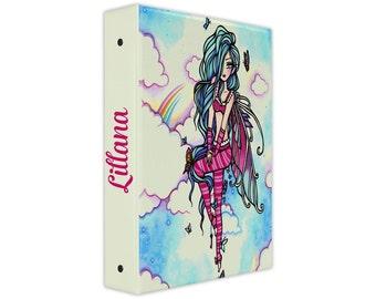 Personalized binder, rainbow fairy 3 ring binder, back to school supplies, school binder, binder organizer, office organizer