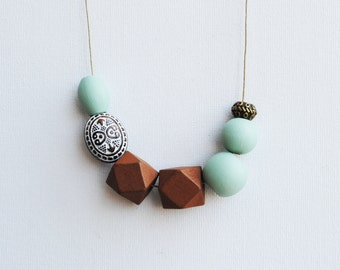 Handpainted Geometric Necklace, Pastel Statement Necklace, Color block necklace, Handmade necklace, Wooden necklace Mint