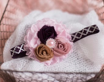 Pink Plum Blush Beige shabby chic Headband/Baby Headband/Baby Girl Accessories/Infant Headband/Baby Girl Headband/Girl Headband Baby/Toddler