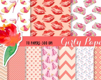 Girly papers, Heels papers, Purse papers, design papers, dress papers, lipstick papers, Lips paper, hearts papers, digital paper pack