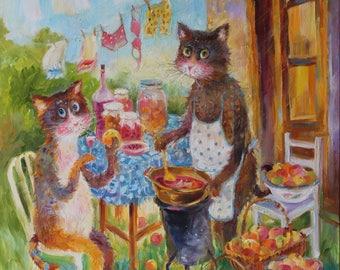 Original oil painting/funny pets/cat portraits cats making jam