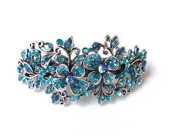 Sale! Vintage-style Blue Hair Accessory, Rhinestone Hair Clip, Bridesmaids Hair Accessory, Prom Hair Barrette, Blue Flower Leaf Crystal Hair