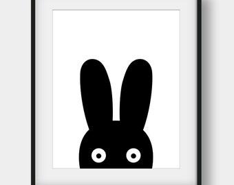 50% OFF Bunny Print, Black Bunny Nursery Print, Nursery Decor, Scandinavian Poster, Baby Room Wall Art, Minimalist Art, Black Bunny Print