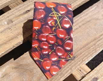 Cherry Necktie, Fruit Necktie, Food Necktie, Berry Necktie, Berries, Cherry Stems