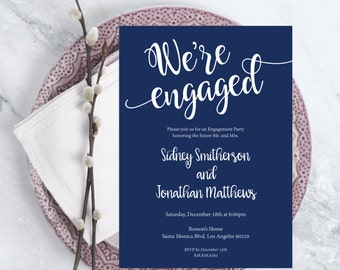 Printable Engagement - We're Engaged - Engagement Party - Wedding Printable - Navy Blue Wedding - Downloadable Wedding #WDH0215
